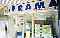 Window view of Frama travel agency
